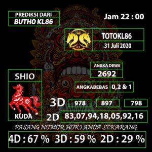 Gajitoto | Prediksi Nomor Main TotoKL86 31 Juli 2020 jam