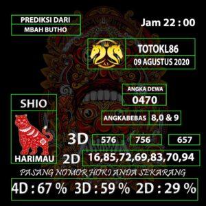 Gajitoto | Prediksi Nomor TotoKL86 09 Agustus 2020
